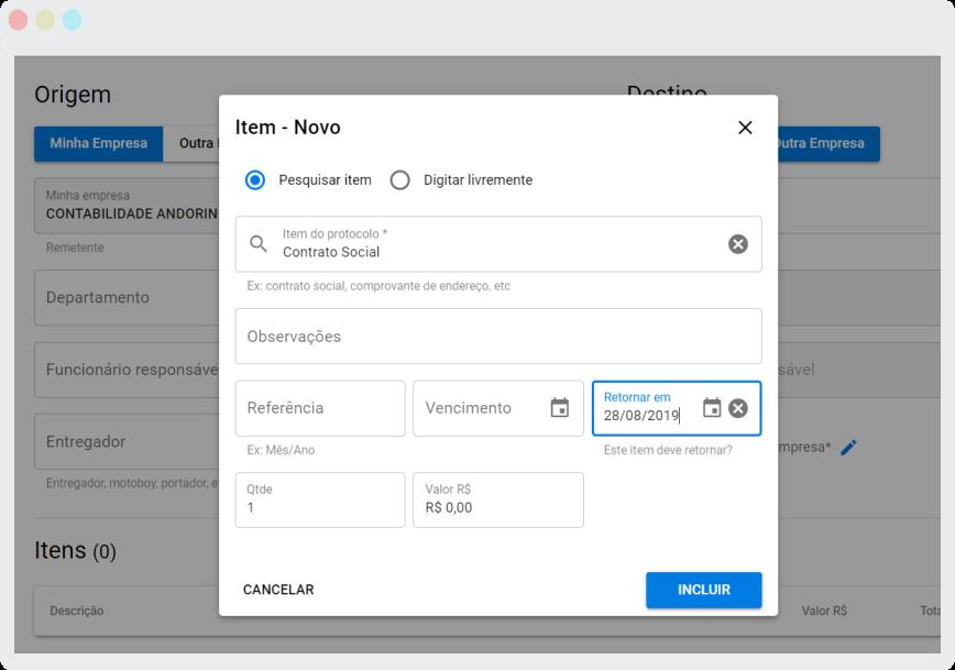 Sistema de Protocolo Online - retorno de itens