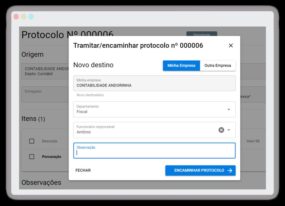 Sistema de Protocolo Online - tramitação de protocolos